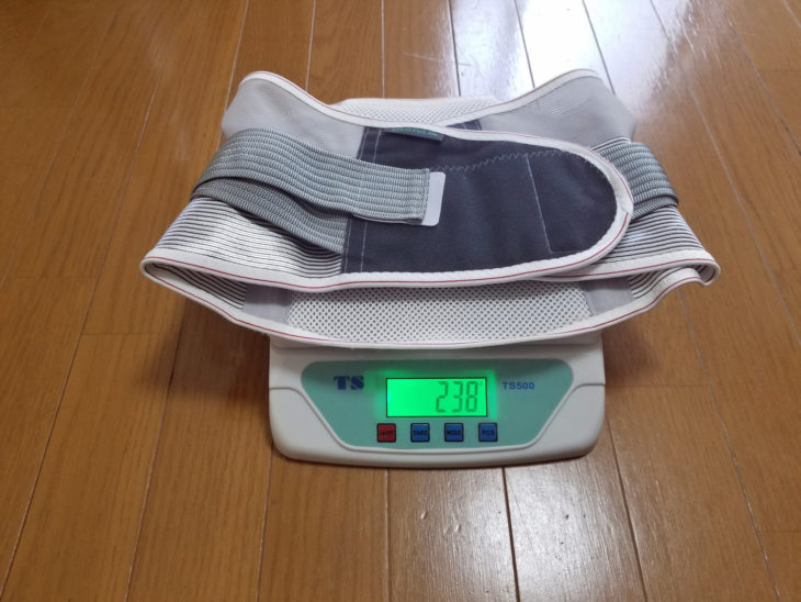 バンテリンサポーター腰椎コルセットの重量