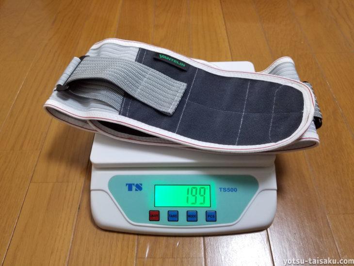 バンテリンサポーター腰用しっかり加圧タイプの重量