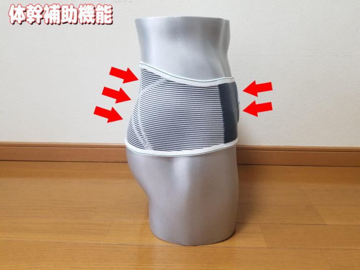 バンテリンサポーター腰用のサポート力(体幹補助機能)