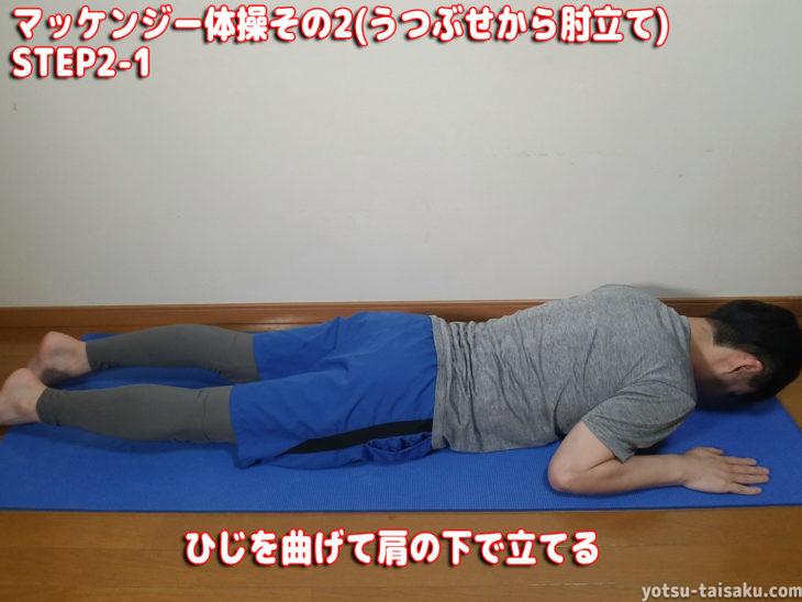 マッケンジー腰痛体操その2(うつぶせから肘立て)STEP2-1