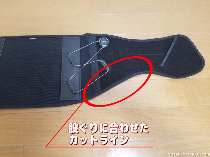 ミズノBOA付ダイヤル調整腰サポーターC2JS8180のずれ防止(カットライン)