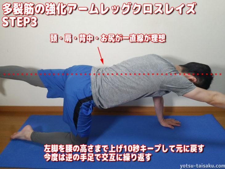 腰痛を予防する多裂筋の強化アームレッグクロスレイズのやり方ステップ3