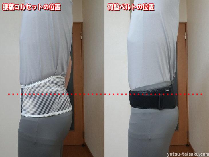 腰痛コルセットと骨盤ベルトの位置の比較