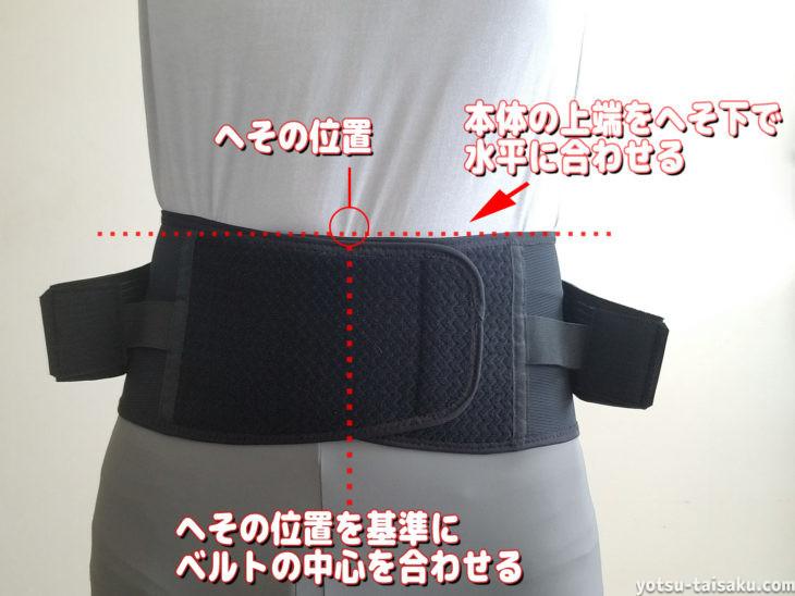 腰痛コルセット(サポーター)の付ける正しい位置