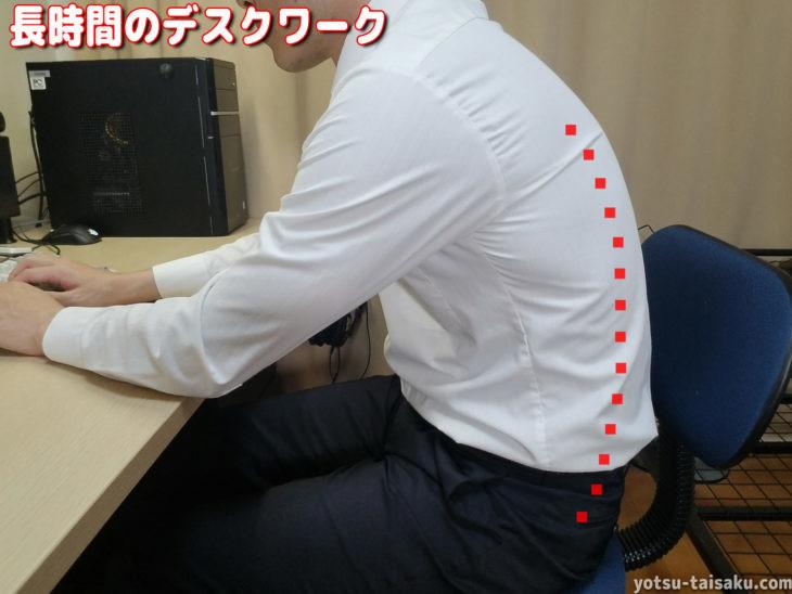 腰痛の原因となる長時間悪い姿勢でのデスクワークで失われる腰椎前弯